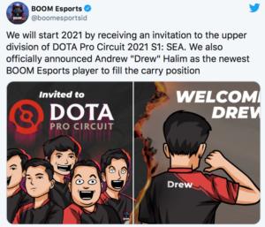 BOOM Esports ได้ Carry คนใหม่พร้อมลงสู้ศึก DPC2021