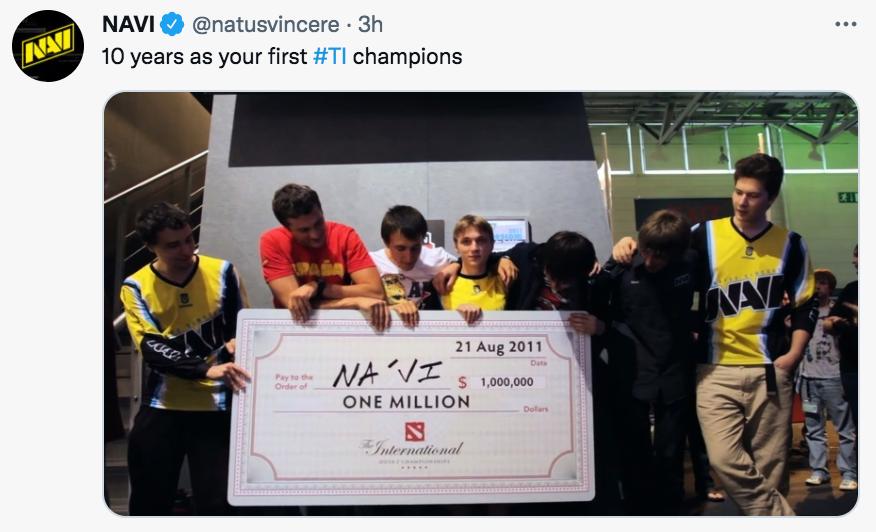 10 ปีที่แล้ว Natus Vincere คว้าแชมป์ TheInternational